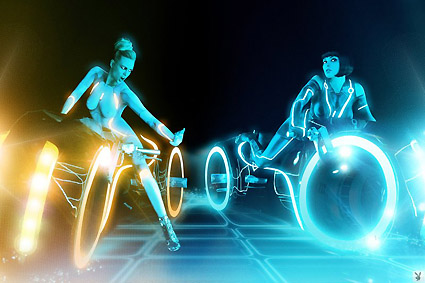 Playboy Tron Playboy models generously lend their time to a Tron: Legacy body paint photo ...